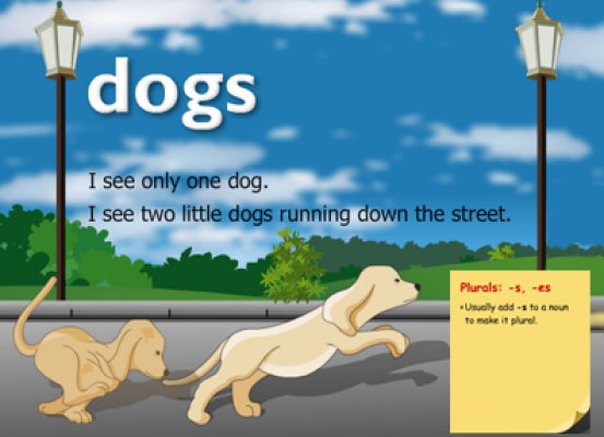 Two dogs running and text explaining singular and plural nouns.