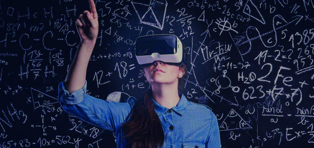 Woman using VR gear as part of virtual classroom training.