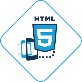 Different mobiles in a line with the logo of HTML 5 in the foreground.