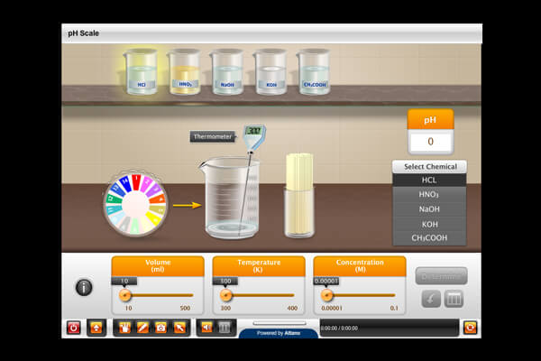 A virtual chemistry lab which can be used as a supplementary resource for classroom practicals.