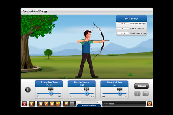 Virtual simulation of an archery lesson.