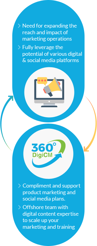Infographic showing 360 degree digital content marketing solutions to fulfill client's needs.