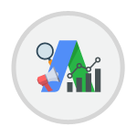 Adwords symbol with analytics in the form of line graph and bar charts.